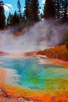 Midway Geyser Basin in Yellowstone National Park, Wyoming United States