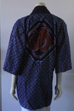 70's Vintage Indigo Japanese Wood Block Print Cotton | Etsy Cotton Kimono, Kimono Top, Japanese Prints, Wood Blocks, Printed Cotton, Indigo, Layering, Heart Origami, Fabric