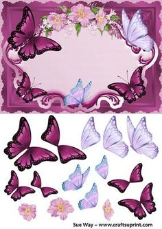 Burgundy Butterflies in a Flower Frame Decoupage on Craftsuprint designed by Sue Way - A beautiful card front in shades of burgundy