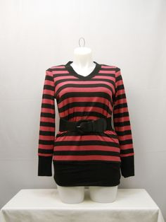 Women's Sweater Plus Size 1X EYE CANDY Pink Striped Belted V-Neck Tight Fitting  #EyeCandy #VNeck