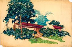 Richard Neutra's sketch of the Heller House in Beverly Hills, 1950; pencil and crayon on paper.