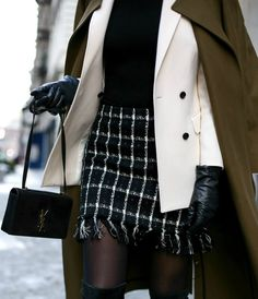 Chic Winter Workwear //  best basic turtleneck, black and white check mini skirt with fringe detail, ivory double-breasted blazer with black buttons, over-the-knee suede flat boots, long olive green wool maxi coat, leather tech gloves // classic office style