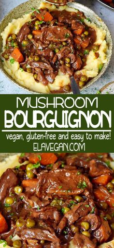 Rich and flavorful vegan mushroom bourguignon perfect for any night of the week A creamy and hearty vegetarian dish with all the aspects of a supreme comfort food This recipe is naturally gluten-free dairy-free soy-free and easy to make Tasty Vegetarian Recipes, Vegetarian Dinners, Veggie Recipes, Cooking Recipes, Healthy Recipes, Oven Recipes, Vegetarian Cooking, Veggie Food, Vegan Meals