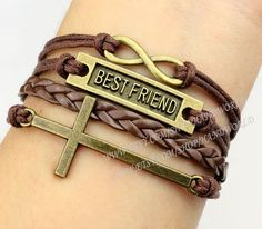 Best friend bracelet cross bracelet infinity bracelet by handworld, $5.69