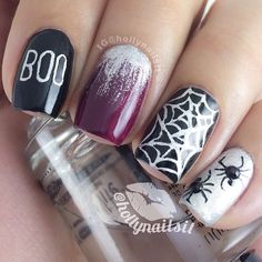 Boo! Holly nails this spooky #Halloween look with rhinestone spiders, glitter web, and text. @hollynailsit - nail art photo on Instagram