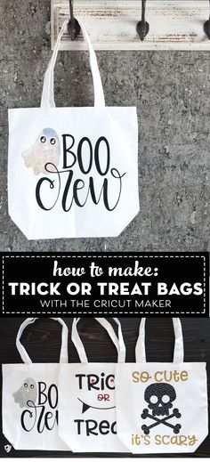 DIY Trick or Treat Bags made with the Cricut Maker and free Halloween SVG files Diy Halloween Trick Or Treat Bags, Halloween Treats For Kids, Fun Halloween Crafts, Halloween Ideas, Halloween Party, Halloween Taschen, Image Svg, Halloween Sewing, Maker
