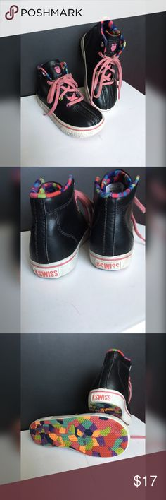 K•SWISS Black Leather High Tops Unique Leather Hightop sneakers! Great for your little ones ankles (tots and early walkers). Very durable and comfy... K-Swiss Shoes Sneakers