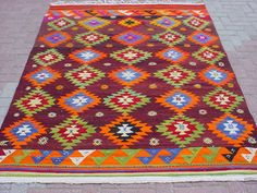 VINTAGE Turkish Kilim Rug Carpet Handwoven Kelim by sofART on Etsy