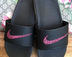Women's Nike Benassi JDI Slide in black with hand placed Fuchsia Swarovski crystals Mother Day Gifts, Gifts For Mom, Nike Benassi, Perfect Gift For Mom, Glam Makeup, Mom Birthday, Bad Hair, Great Hair, Fashion Design