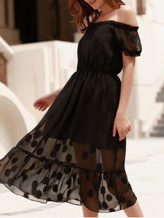 Charming Solid Color Off-The-Shoulder Gauze Design Midi Dress For Women - BLACK XL