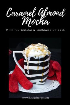 How to make caramel almond mocha lizbushong.com, easy recipe filled with almond milk, maple flavoring, caramel, whipped cream and of course coffee with chocolate. Get recipe at lizbushong.com-make-hot-caramel-maple-almond-mocha/ #food #beverages #chocolate #mocha #caramel #whipped cream #maple # recipe