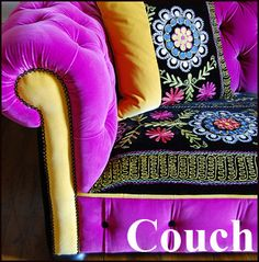 Brightly Colored Couches - http://www.couchgb.com  Colored sofas, Bright chesterfields.    Patchwork work couches