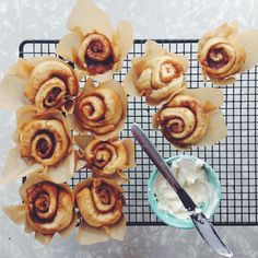 cinnamon rolls wrapped in pape