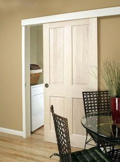 Sliding door with the hardware hidden. A good idea for the kitchen - dining room door. Saves space and looks neat.