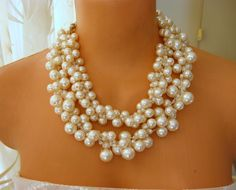 Ivory Wedding Statement Necklaces crocheted pearls. $165.00, via Etsy.