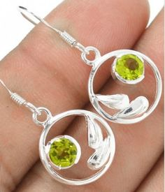 Peridot Hoop Earrings .925 Sterling Silver. Starting at $1 on Tophatter.com!