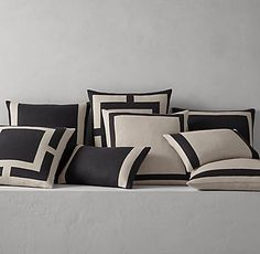 Best Bedding Sets For Couples Info: 4624778614 Neutral Bed Linen, Black Bed Linen, Linen Pillows, Linen Bedding, Bed Pillows, Bed Linens, Rustic Bedding, White Pillows, Applique Pillows