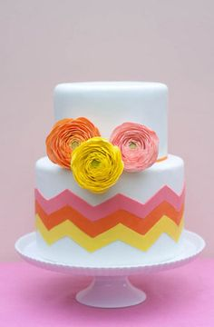 DIY: Trendy Chevron Wedding Cake by Erica OBrien Cakes