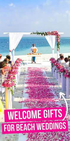 Surprise your guests with these Best welcome gifts for beach weddings! They will love the presents and will make your special day even more special. Beach Wedding Guests, Beach Wedding Hair, Wedding Gifts For Guests, Beach Wedding Favors, Wedding Couples, Wedding Poses, Romantic Weddings, Unique Weddings, Beach Weddings