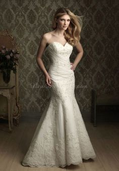 lace mermaid sweetheart with pleats floor-length chapel train wedding dress - newdress2014.com