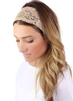 Wide lace headband beige. Hair Loss Women 726e33fc60d