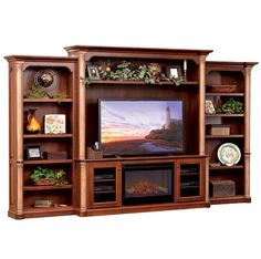 Amish Made Solid Wood Jefferson Entertainment with Side Bookcases and Fireplace