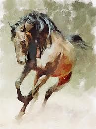 watercolour horse  unknown artist