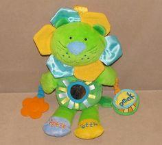 "Manhattan Toy 12"" Plush Lion Green Crinkle Peek Squeak Rattle 2008 Mirror Ribbon #ManhattanToy"
