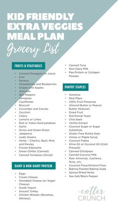 This simple grocery list is what you'll need to create delicious and nourishing meals for your kids to help them get the right vitamins and minerals while homeschooling. #mealplanforkids #gluten free #mealplanning #kidfriendly Gluten Free Meal Plan, Gluten Free Recipes For Breakfast, Best Gluten Free Recipes, Free Meal Plans, Gluten Free Sweets, Gluten Free Dinner, Gluten Free Breakfasts, Gluten Free Baking, Easy Healthy Recipes