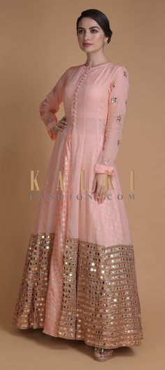 Buy Shrimp Peach Jacket Lehenga With Mirror Abla Work And Weaved Moroccan Pattern Online - Kalki Fashion Lehenga Designs, Kurti Designs Party Wear, Designer Party Wear Dresses, Indian Designer Outfits, Indian Outfits, Fancy Blouse Designs, Designs For Dresses, Jacket Lehenga, Anarkali Lehenga