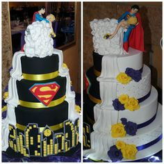 Made by Maggie Gagiano Cakes. Comic Wedding, Marvel Wedding, Geek Wedding, Dream Wedding, Superman Wedding Cake, Superhero Wedding Cake, Beautiful Cakes, Amazing Cakes, Superman Cakes