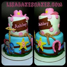 Sheriff Callie Mini 2 tier cake by LisaBakesCakes.com Toppers available on Etsy https://www.etsy.com/shop/CreativeCakesbyLisa?ref=hdr_shop_menu