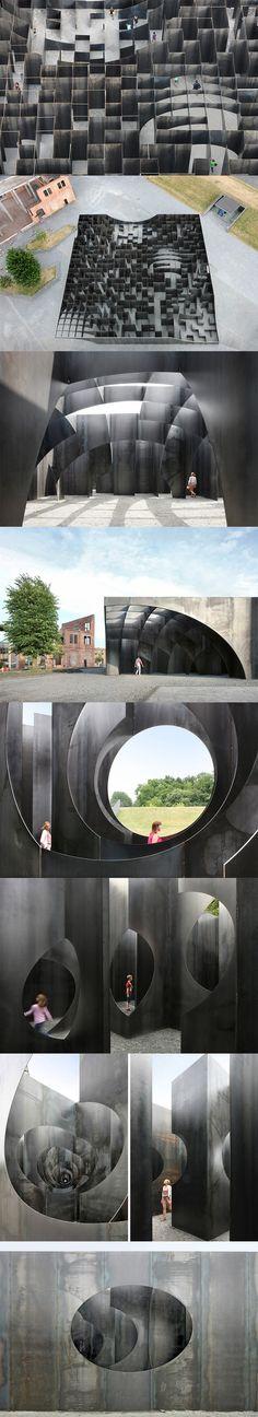gijs van vaerenbergh builds sculptural steel labyrinth at former coal mine