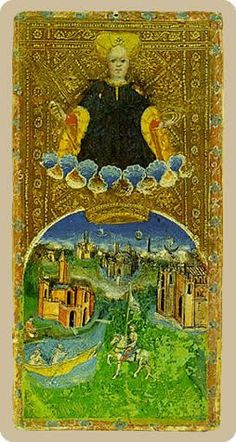 The meaning of The World from the Cary-Yale Visconti Tarocchi Tarot deck: You are in a timeless state of grace where all is well.