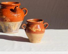 French Glazed Marple Honey Color Clay Pot. Confit Pot. Olive Pot. Terracotta Pottery.