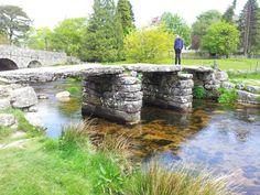 The famous medievel clapper bridge in Postbridge in the heart of Dartmoor