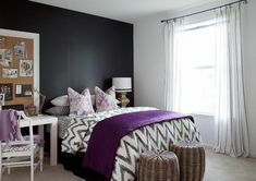 Stylish Apartment Living - eclectic - bedroom - atlanta - by Dayka Robinson Designs Cama Chevron, Chevron Bedding, Purple Bedding, Ikat Bedding, Geometric Bedding, Ikat Pillows, Chevron Quilt, Floral Pillows, White Bedrooms