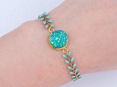 Armbänder - AQUA Drusen Boho Armband Druse Ethno türkis silber - ein Designerstück von SpreeGold-Berlin bei DaWanda
