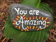 You are Amazing. Hand painted rock by Caroline. The Kindness Rocks Project