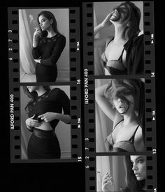 Photographed in black and white, Barbara Palvin wears top, skirt and belt from Altuzarra. Bra by Carine Gilson.