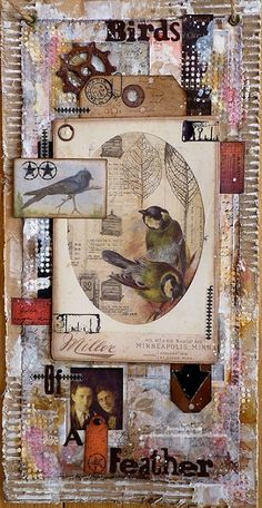 Brenda Brown as Butterflies and Bumblebees for A Vintage Journey using Tim Holtz, Ranger, Sizzix and Stamper's Anonymous products; Nov 2014