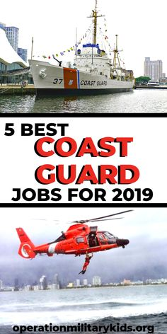 The Coast Guard is one of the best kept secrets the Military has to offer. With that said, here are 5 of the best Coast Guard Jobs, what they do and how to get them. Coast Guard Boot Camp, Coast Guard Training, Coast Guard Boats, Coast Guard Helicopter, Coast Guard Ships, Coast Guard Rescue Swimmer, Coast Guard Wife, Coast Guard Academy, Military Spouse