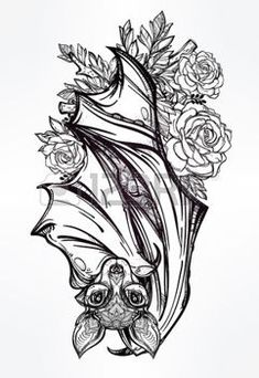 vampire bat tattoo: Ornate nocturnal bat with roses. Design tattoo art. Isolated vector illustration. Trendy Vintage style element.