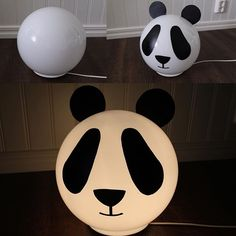 Made a panda lamp for my son out of #ikea #fado and some contact plastic #diy #panda #kidsroom #children #barnrum #ikeahack