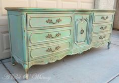 Beautiful Green/Teal French Provincial Dresser - via Etsy.