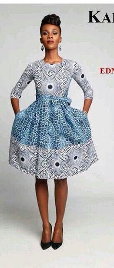 Nice Waxprint Dress, this looks pretty cool! African Print Dresses, African Dresses For Women, African Wear, African Attire, African Women, African Prints, African Style, African Inspired Fashion, African Print Fashion