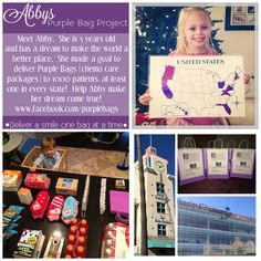 This is a GREAT idea on how do teach your kids how to love other and give back.  An EASY service project to do with your kids!  Love it. Abby's Purple Bag Project