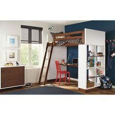 Room & Board - Moda Loft Bed with Middle Desk and One Four-Drawer Dresser Bunk Bed With Desk, Loft Bunk Beds, Bunk Beds With Storage, Modern Bunk Beds, Kids Bunk Beds, Modern Loft, Modern Homes, Modern Kids Furniture, Modern Kids Bedroom