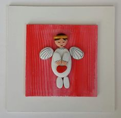 Pebble Art / Stone Art White Wooden Board White Angel by ArzuMusa