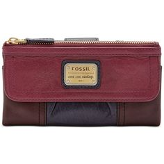 Fossil Emory Leather Clutch Wallet ($65) ❤ liked on Polyvore featuring bags, wallets, maroon, genuine leather bag, real leather wallet, red leather wallet, colorblock bag and real leather bag